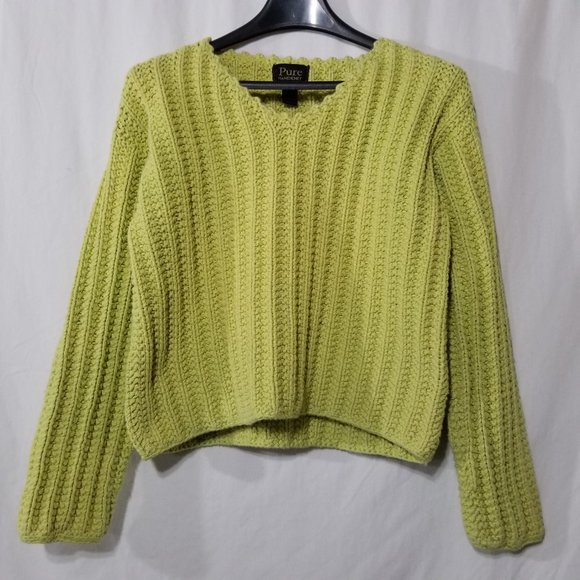 Pure Handknit thick cotton green pullover sweater